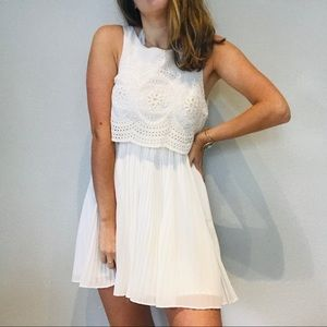Anthro Cooperative white eyelet open back dress